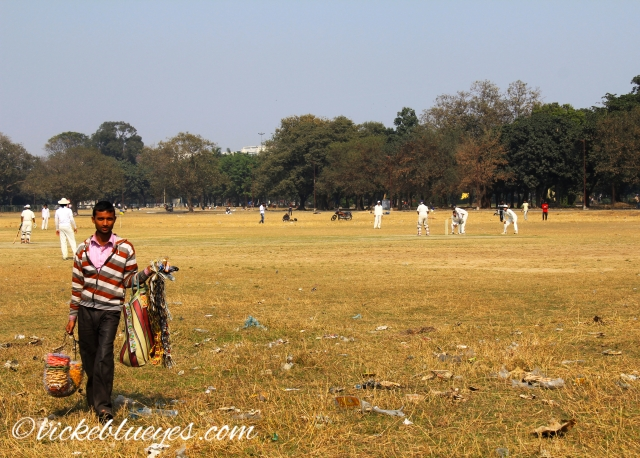 selling goods in front of a cricket match