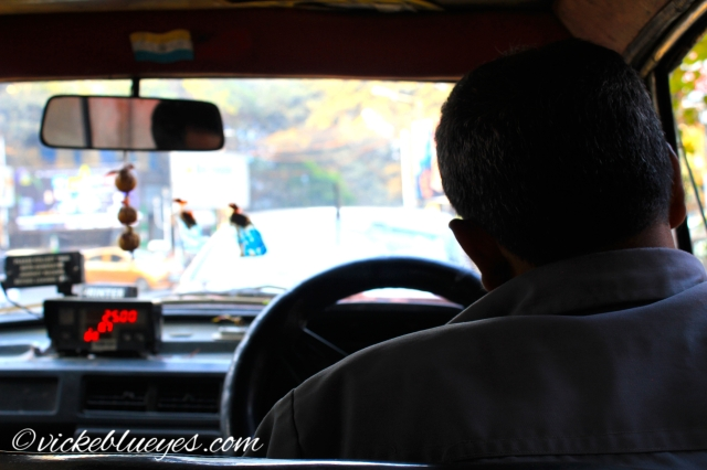 back of a taxi