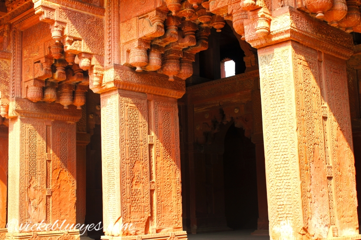 agra fort pillars